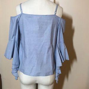 Light blue off-the-shoulder sleeve flounce top